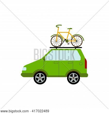 Travelling By Car. A Car With Bicycle. Family Hobby. Bicycles Attached To Top Of Green Automobile.fl