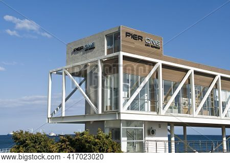 Limassol, Cyprus, April 11th, 2021: Seafront Cafe Pier One At The Old Port