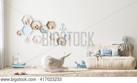 Stylish Children's Room Interior In Light Tones With Toys, Bed And Shelves, Modern Kids Playroom Int