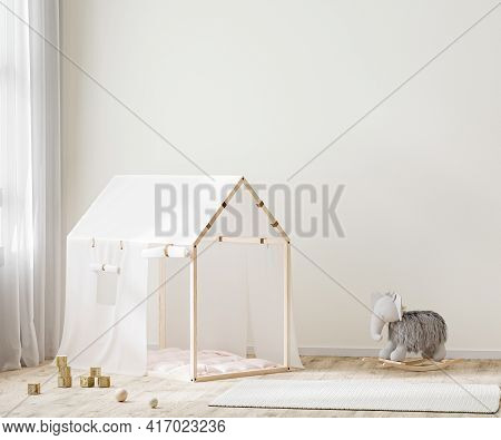 Wall Mock Up In Children Room Interior Background, Kids Room With Tent And Toys, Playroom Interior,
