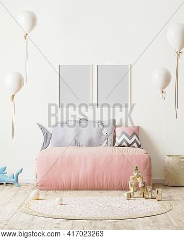 Poster Frame Mock Up In Children's Room With Pink Sofa And Soft Toys, 3d Rendering