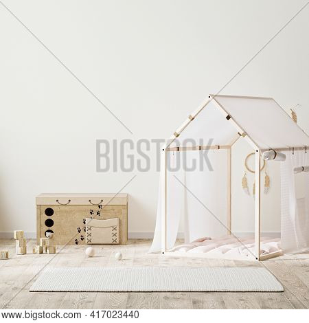 Indian Style Kids Room Interior With Tent, Children's Chest Of Drawers And Toys, 3d Rendering
