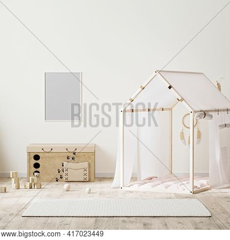 Poster Frame Mock Up In  Indian Style Kids Room Interior With Tent, Children's Chest Of Drawers And
