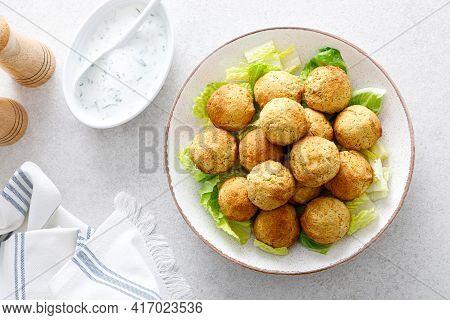 Falafel With Greek Yogurt Sauce Tzatziki, Mediterranean Cuisine
