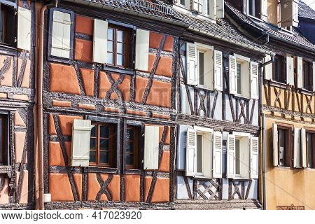 Old Traditional Colorful Half-timbered Houses In Colmar, Alsace Region, France. Colmar's Architectur