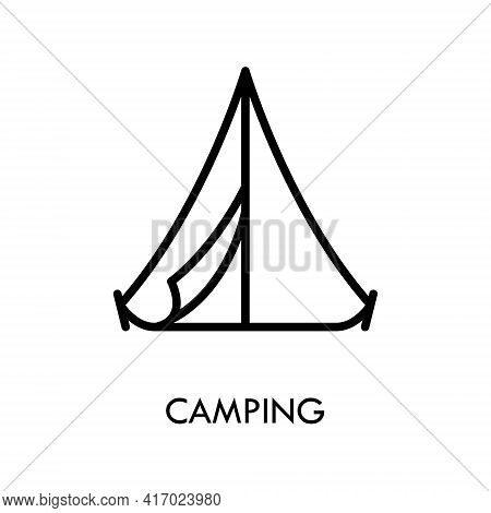 Camping Tent Flat Line Icon. Sport And Tourism Simple Vector Illustration. Outline Sign For Mobile C