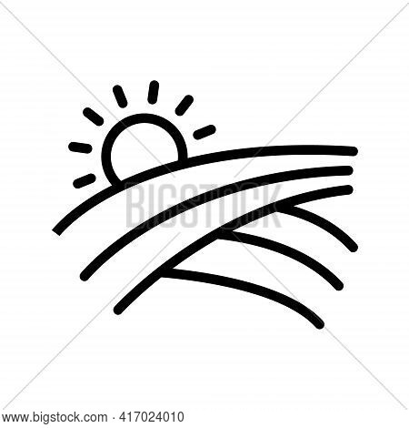 Sun And Field Line Icon. Agricultural Landscape Linear Style Sign For Mobile Concept And Web Design.