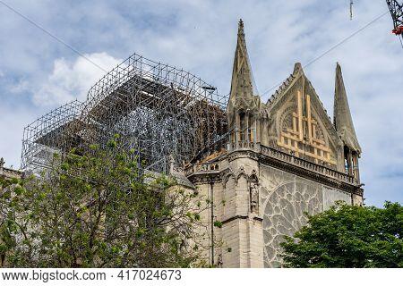 The Reconstruction Work Of Notre Dame De Paris Church After Fire