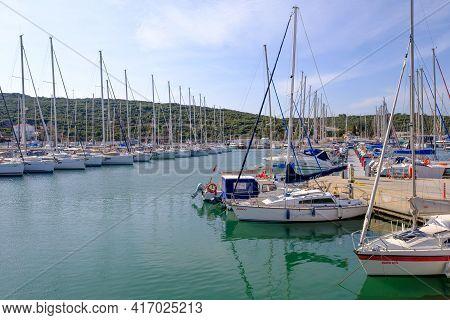 Seferihisar, Izmir, Turkey - 03.08.2021: Seascape And Landscape Of Teos Marina And A Lot Of Sailboat