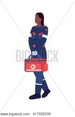 African American Female Paramedic Flat Color Vector Faceless Character