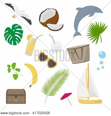 Summer Sea Beach Collection With Isolated Vector Objects - Sailboat, Coconut, Coconut Milk, Cocktail