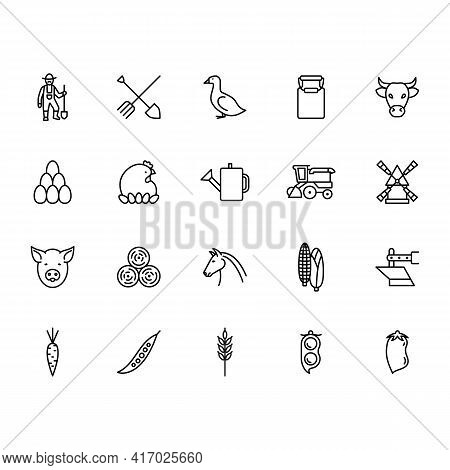 Farming Line Icon In A Simple Style. The Icons Are Vegetables, Lentils, Peas, Buckwheat, Pumpkin, Su