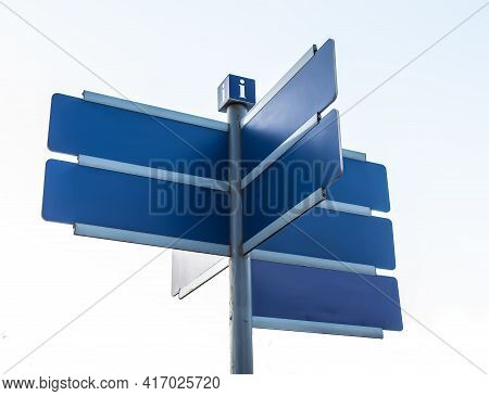 Information Signs Directed In Different Directions With Place For Text Isolated On White Background