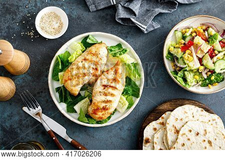 Grilled Chicken Breast, Barbecued Meat And Salad