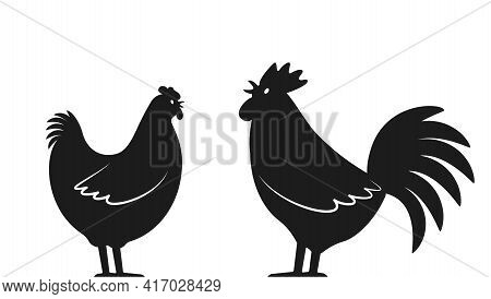 Set Of Domestic Birds From The Farm. Rooster And Hen. Template For The Poultry Farm. Vector Logo Ill