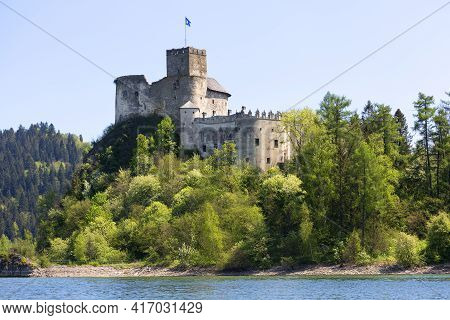 Niedzica, Poland - May 18, 2020: 14th Century Niedzica Castle ( Dunajec Castle), Medieval Fortress A