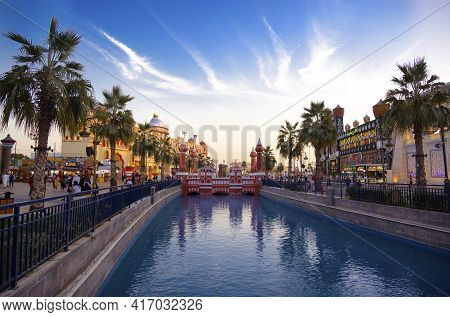 Dubai, Uae - Dec-16 2020 Beautiful View Of The Country Pavilions ,and Canal With Pleasure Boats In T