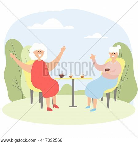 Elderly People Chat In A Cafe. Grandmothers Spend Leisure Time Together. Vector Illustration.