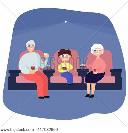 Vector Illustration. Couple Of Seniors At Cinema With Grandson