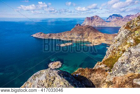 Offersoykammen Hiking Trail, Vestvagoy, Lofoten Islands, Norway. Top View From The Peak Of The Mount