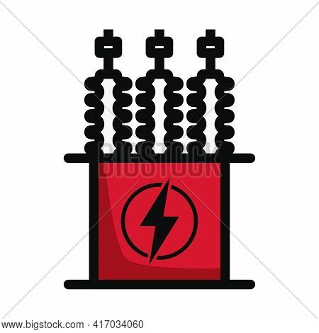 Electric Transformer Icon. Editable Bold Outline With Color Fill Design. Vector Illustration.