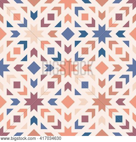 Colorful Vector Geometric Ornament. Stylish Seamless Pattern With Squares, Diamonds, Stars, Flower S