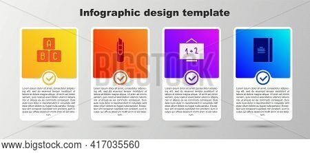 Set Abc Blocks, Stationery Knife, Chalkboard And Spiral Notebook. Business Infographic Template. Vec