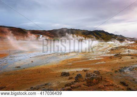 Hverir Geothermal Area Near Lake Myvatn In Iceland