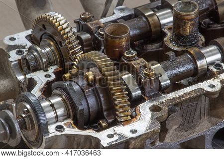 Camshaft Gears On The Head Of The Car Engine. Car Engine Repair