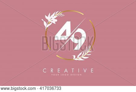 Number 49 4 9 Logo Design With Golden Circle And White Leaves On Branches Around. Vector Illustratio