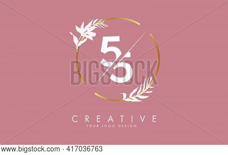 Number 55 5 Logo Design With Golden Circle And White Leaves On Branches Around. Vector Illustration