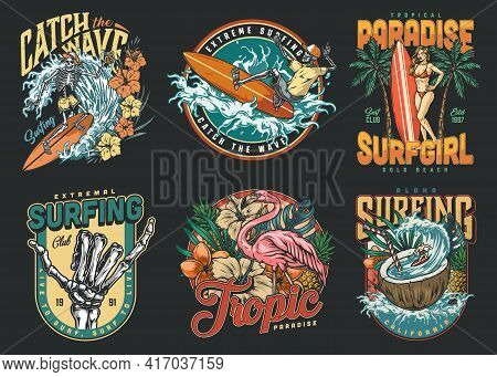 Surfing Vintage Colorful Labels With Skeleton Surfers Pretty Woman With Surfboard Pink Flamingo Trop