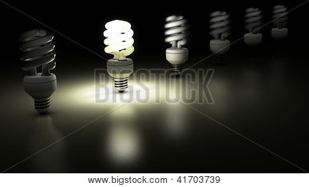 Compact fluorescent lamps in a row