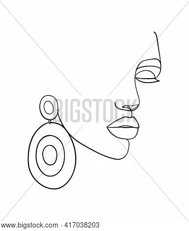 Woman Face Line Drawing. Fashion Concept, Woman Beauty Minimalist. - Vector Illustration.