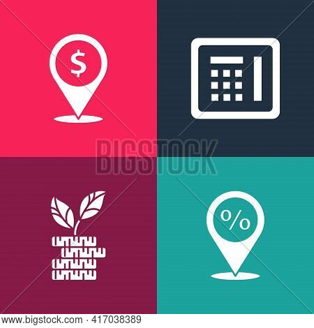 Set Pop Art Location With Percent Discount, Dollar Plant, Safe And Cash Location Icon. Vector
