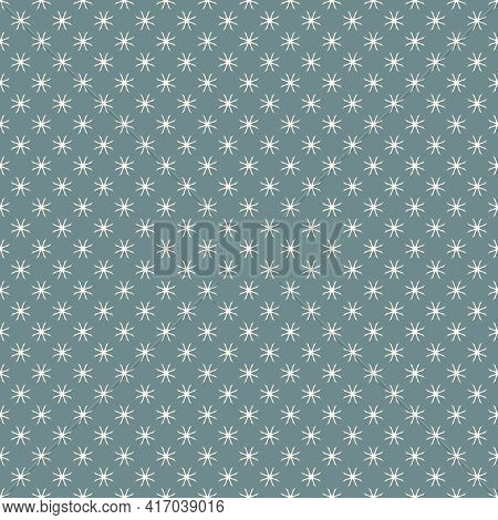 Simple Floral Geometric Seamless Pattern. Elegant Vector Ornament Texture With Flower Silhouettes, C