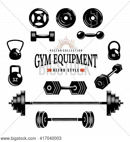 Gym Equipment Collection. Monochrome Style Of Designed Elements. Sports Accessories Set. Vector Fitn