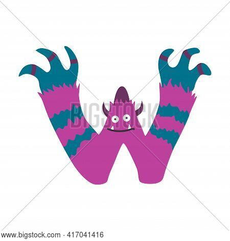 Monster Alphabet Symbol. Letter W Of English Alphabet Shaped As Monster. Children Colorful Cartoon F