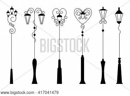 Street Light, Black Silhouettes Collection. Street Retro Road Lamp Set. Vintage Light For Aristocrat