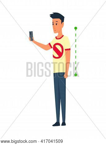 Posture And Ergonomics. Correct Alignment Of Human Body In Standing Posture For Good Personality And