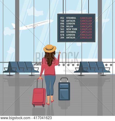 Flight Cancelled, Passenger With Luggage, Travelling Due To Coronavirus, Covid-19, Vector Illustrati