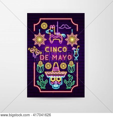 Cinco De Mayo Neon Flyer. Fifth Of May Translate. Vector Illustration Of Construction Promotion.