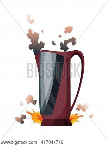 Broken Home Appliances. Damaged Kettle. Domestic Icon Isolated On White. Burning Electronics. Homeap
