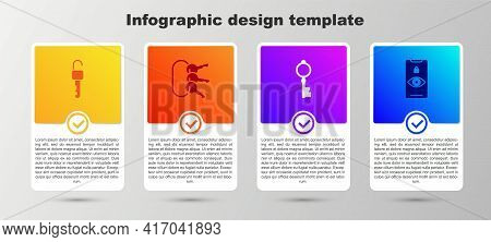 Set Unlocked Key, Bunch Of Keys, Old And Eye Scan. Business Infographic Template. Vector