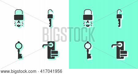Set Digital Door Lock, Key Broke Inside Of Padlock, Old Key And Unlocked Icon. Vector