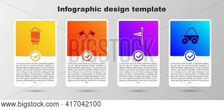 Set Medieval Flag, Crossed Medieval, And Wooden Four-wheel Cart. Business Infographic Template. Vect