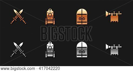 Set Crossed Medieval Sword, Medieval Throne, Castle Gate And Trumpet With Flag Icon. Vector
