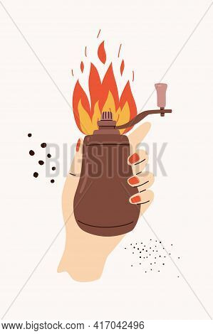 Hand With Pepper Grinder Mill Vector Illustration. Cartoon Style Female Hand With Manicure Red Nails