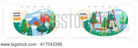 Active Senior Landing Page Design, Website Banner Vector Template Set. Happy Elderly Woman Pensioner