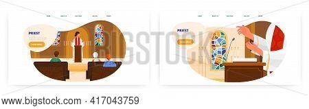 Priest Landing Page Design, Website Banner Vector Template Set. Pastor Saying Prayer Behind The Rost